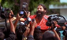 Baba Ramdev talks to the media at Ramlila Maidan, New Delhi.