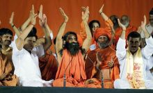 Yoga guru Baba Ramdev and supporters at Ramlila Ground in New Delhi