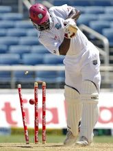 West Indies captain Darren Sammy is bowled out