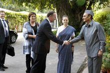 New Zealand Prime Minister John Key, Congress leader Karan Singh, UPA Chairperson Sonia Gandhi