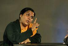 Uma Bharti speaks to media persons in New Delhi.
