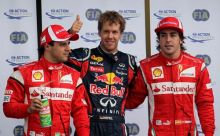 Sebastian Vettel (centre), Fernando Alonso (right) and Felipe Massa