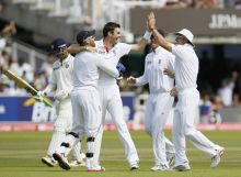 James Anderson and team-mates