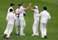 England's Stuart Broad (3rd right) and team-mates