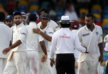 India players shake hands with umpire Asad Rauf after their match against West Indies ended in a draw