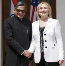 S.M. Krishna with Hillary Clinton