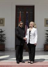 S.M. Krishna with Hillary Clinton