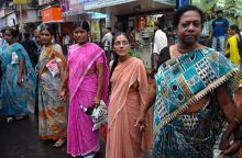 Women form a human chain during a protest in Mumbai