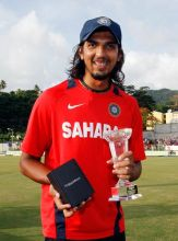 India's bowler Ishant Sharma poses with his Man of the Series trophy