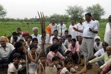 Members of Ring Road Sangharsh Samiti protest against illegal land acquisition by JDA