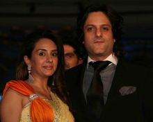 Fardeen Khan with wife at Manav Gangwani's couture show.