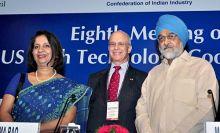 Nirupama Rao (left) with Eric L Hirchhorn and Montek Singh Ahluwalia