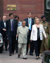 Pranab with Hillary Clinton