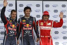 Mark Webber (centre), Sebastian Vettel (left) and Fernando Alonso