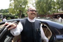 Amar Singh arrives to attend the Monsoon Season of Parliament