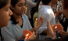 Anna supporters during candle march in Jaipur