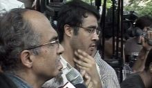 Prashant Bhushan outside Tihar