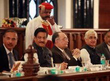 Mohit Shah, Prithviraj Chavan, S. H. Kapadia and Salman Khurshid during the 150th anniversary celebration of Bombay High Court in Mumbai