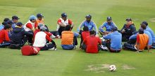 India coach Duncan Fletcher and players