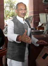 J P Agarwal arrives to attend the Monsoon Season of Parliament