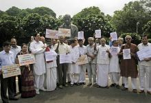 MPs protest outside Parliament