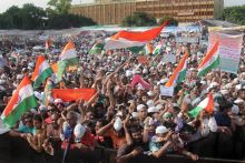 Supporters protesting at Ramlila Maidan.