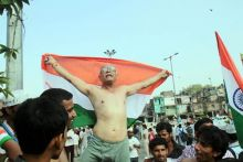 A supporter at Ramlila Maidan.