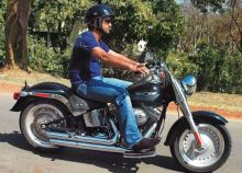 Mahendra Singh Dhoni riding a Harley Davidson