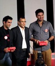 Gautam Gambhir, Chetan Bhagat and Yuvraj Singh
