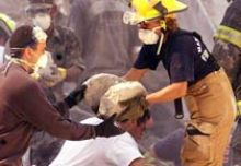 Rescue workers help survivors at World Trade Centre