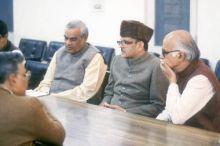 L.K. Advani and Atal Bihari Vajpayee with V.P. Singh