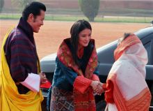 Bhutan King Jigme Khesar Namgyel Wangchuck and his wife Jetsun Pema with President Pratibha Patil.