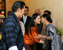 Spouse of Indian Ambassador to Bhutan Pavan K Varma with Bhutan's Queen Ashi Kesang Choden Wangchuck and Jigme Dorji Wangchuck.