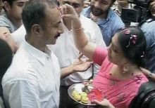 Sanjeev Bhatt welcomes by his wife Shweta