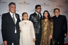 Abhishek, Aishwarya and Jaya with Abu Jani and Sandeep Khosla