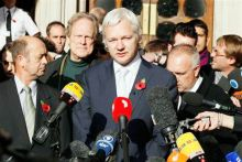 Julian Assange outside London High Court