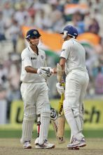 India's Rahul Dravid (left)and teammate V.V.S. Laxman