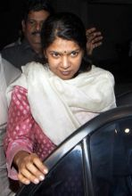 Kanimozhi arrives at her residence after her release from Tihar Jail.