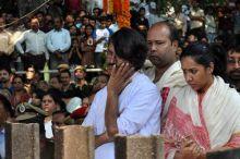 Last rites of jyanpeeth awardee Dr. Mamoni Raisom Goswami were performed at Navagraha creamation ground at Chandmari in Guwahtai on Wednesday, November 30,2011.
