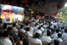 DMK supporters during the fast over over the Mullaperiyar Dam issue