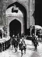 King George V makes his entry via the Delhi Gate of Red Fort