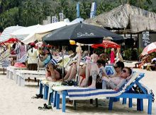 Foreign tourists relax at a Goa beach