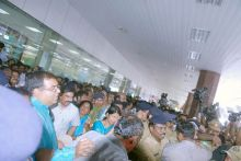 Kanimozhi arrives at Chennai airport
