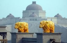 Covered statues of elephants in Lucknow