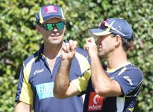 Ricky Ponting with team trainer