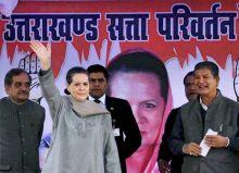 Sonia Gandhi and Harish Rawat