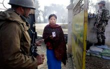 Voter outside polling booth in Manipur