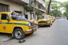 Taxi drivers on strike in Kolkata