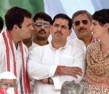 Rahul Gandhi, Robert Vadra and Priyanka Gandhi Vadra