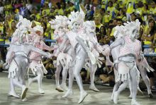 Performers from the Beija Flor samba school